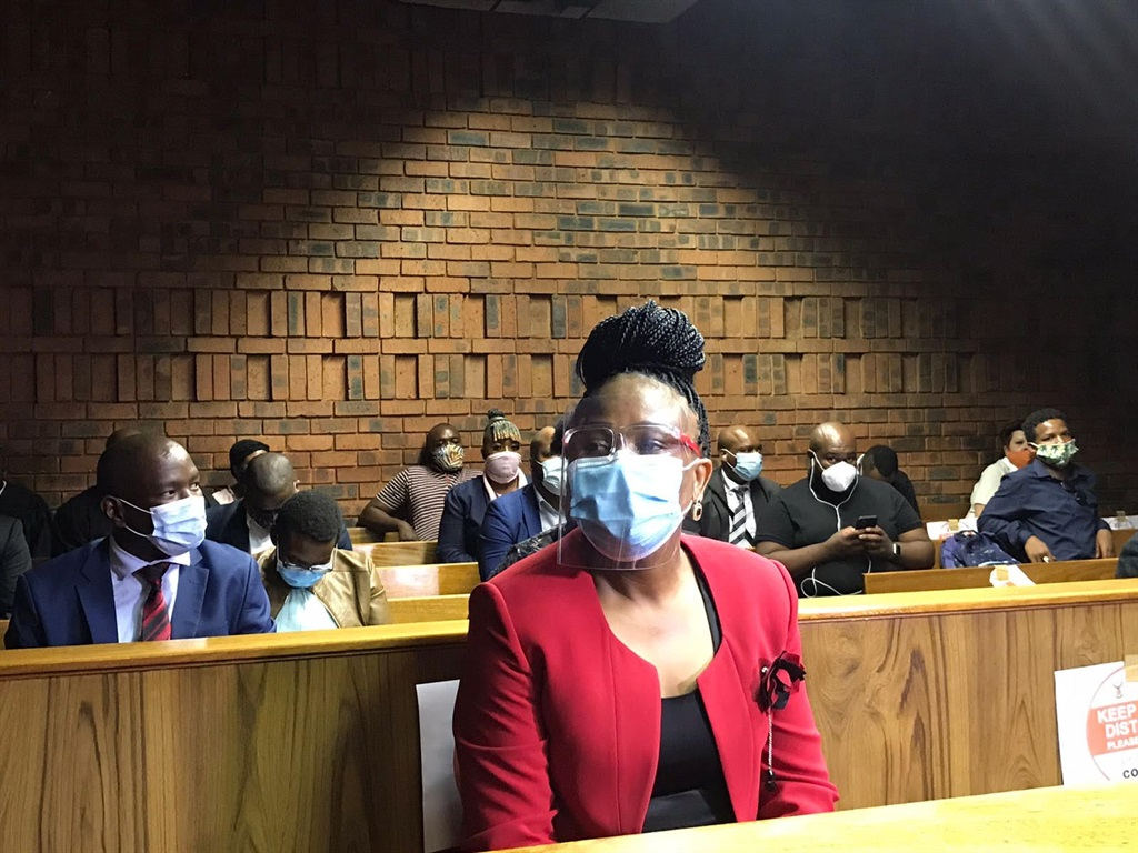 Public Protector advocate Busisiwe Mkhwebane in the dock at the Pretoria Magistrate's Court.