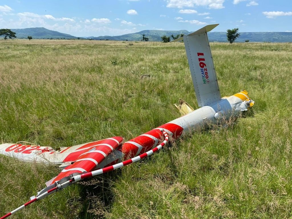 Parts of the wreckage of the Netcare chopper that crashed near Bergville