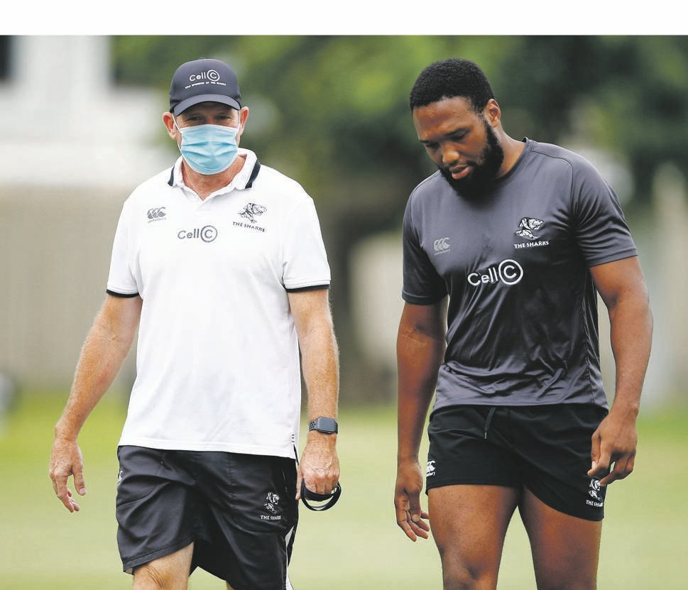 Sharks coach Sean Everitt (left) and captain Lukhanyo Am look to make history in Cape Town on Saturday.