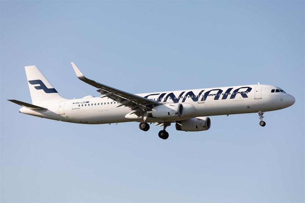 A Finnair Airbus A321 lands at London Heathrow Air
