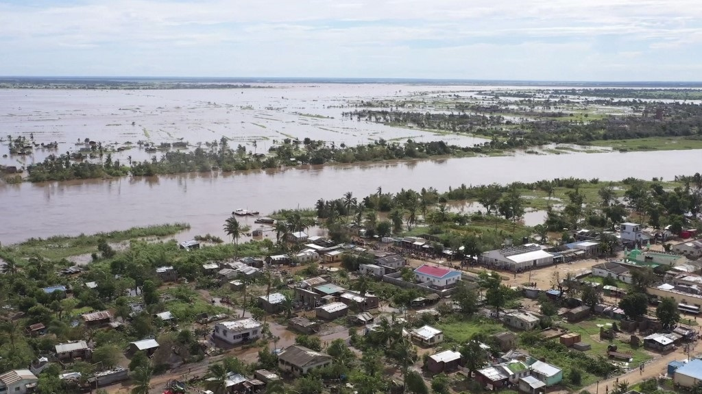 Footage taken by UNICEF on 24 January shows widespread flooding in the Buzi area of Mozambique after the landfall of Cyclone Eloise. (Screengrab, AFP)