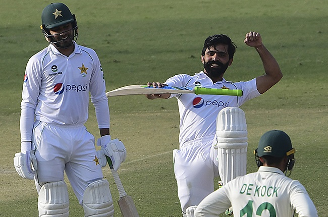 Fawad Alam celebrates against South Africa.