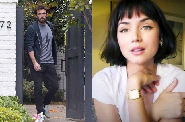 A gaunt-looking Ben Affleck after his split from Ana de Armas, who has gone on to swap her locks for a cute short bob, which she showed off on Instagram. (Photos: Mega, Insagram/AnadeArmas)