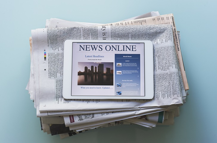 Tablet computer with news articles