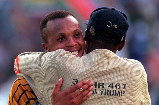 Doctor Khumalo celebrating South Africa's win in the 1996 African Cup of Nations final.