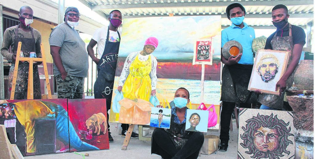 Adequate government funding, which is administered on time, is important to support the art industry and save it from total ruin. A group of artists from OpenArt Studios in Mfuleni. From left are: Amos Retyu, Lonwabo Baliso, Xolani Sivunda, Sive Tinzi and Lihle Matinii. 'Seated is Lelethu Fundakubi. Photo: Thulani Magazi.