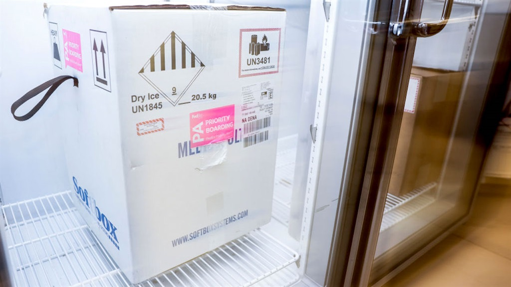 A Pfizer vaccine delivery in a freezer