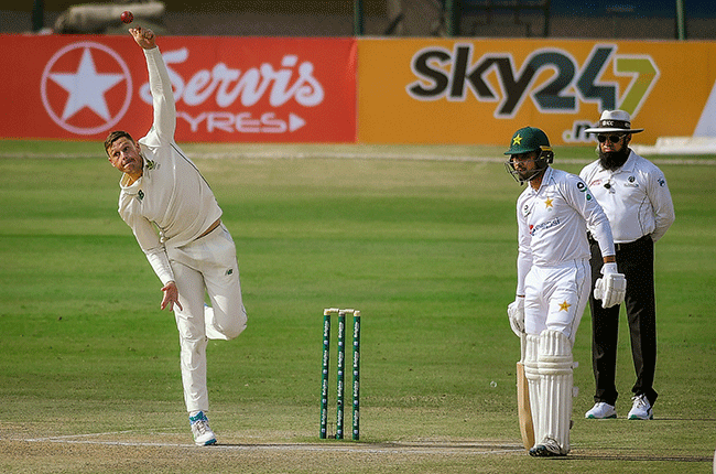 Proteas spinner George Linde bowls against Pakistan (PCB media)