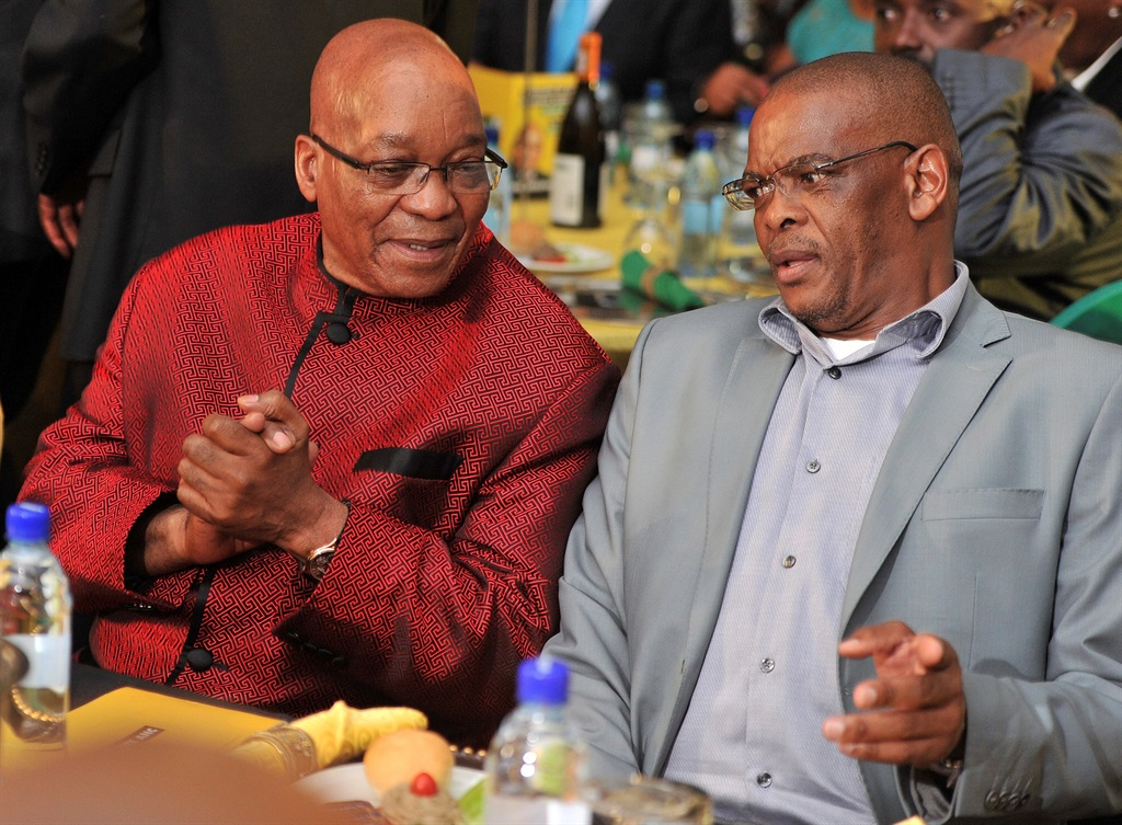 Former president Jacob Zuma and Ace Magashule during an ANC gala dinner on 10 January 2014 in Mbombela. (Photo by Gallo Images / City Press / Elizabeth Sejake)
