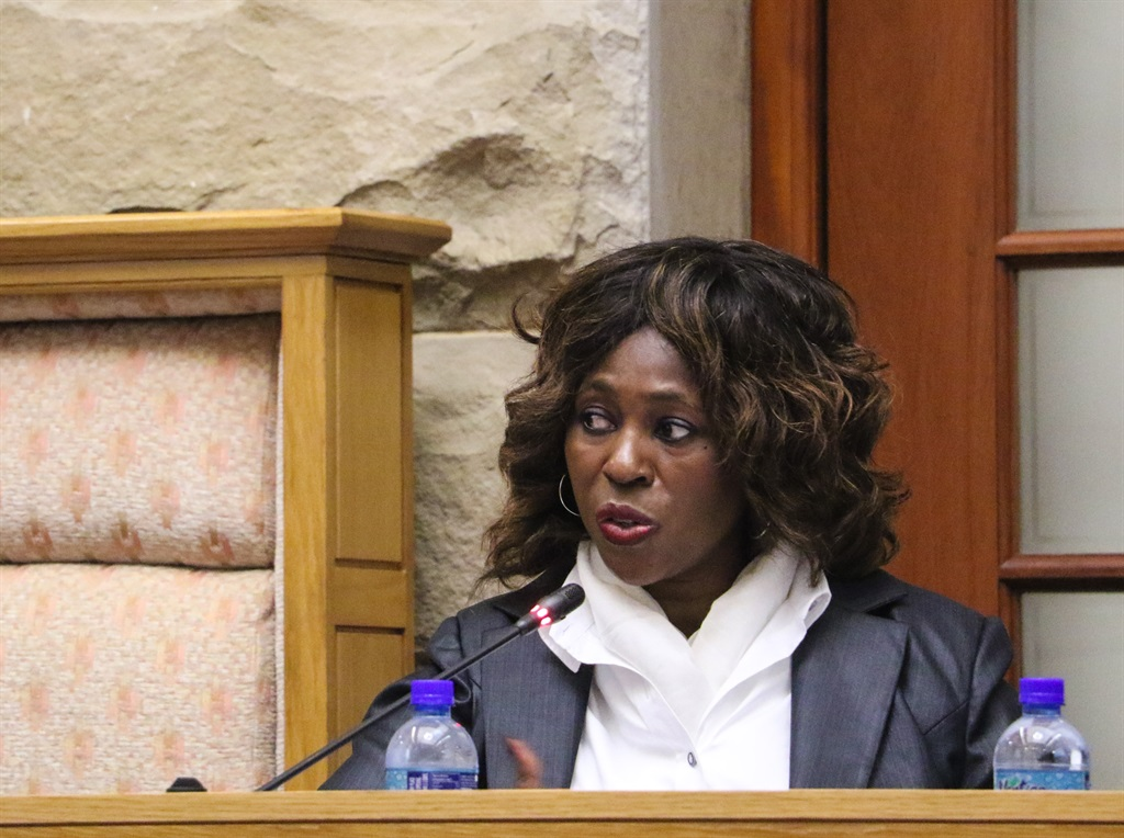 Makhosi Khoza chairing a meeting of the Portfolio Committee on the Public Service and Administration in August 2017. She was removed from this position shortly after and resigned from the ANC.