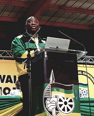 Cyril Ramaphosa delivers his first speech as ANC president at the party's national conference at Nasrec in Johannesburg. (Photo: Alet Janse van Rensburg)