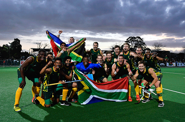 The SA men's hockey team celebrating during the Men's Olympic qualifier against Egypt at Stellenbosch University Astro. (Photo by Ashley Vlotman/Gallo Images)