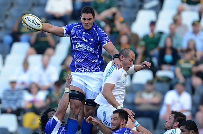 Samoa's Daniel Leo wins a lineout during the Incoming Tour match against Italy at Mbombela Stadium on 15 June 2013. (Photo by Duif du Toit/Gallo Images)