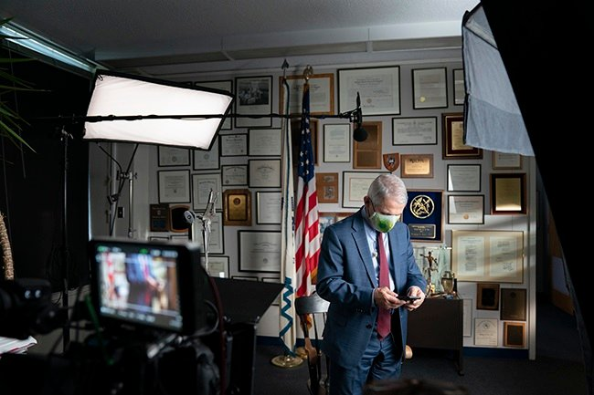 Dr. Anthony Fauci during an interview at the NIH in Bethesda, MD. (National Geographic/Visko Hatfield)