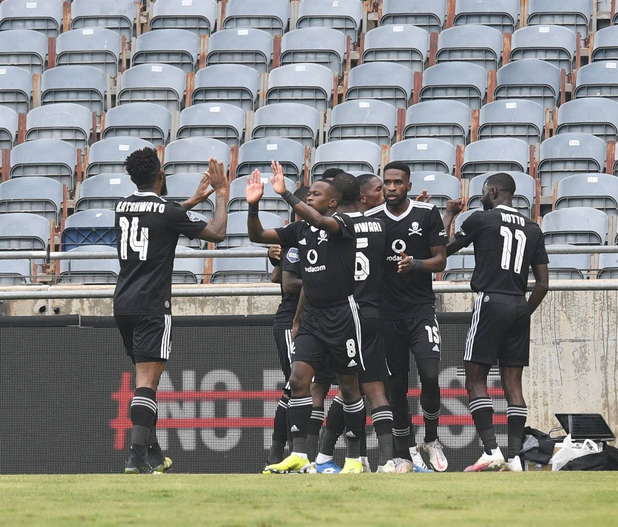 Orlando Pirates captain Thulani Hlatshwayo and his team-mates celebrate Bucs' win over Cape Town City on TuesdayPicture: Sydney Mahlangu / BackpagePix