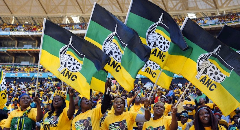ANC supporters wave the party flag. Photo: Reuters