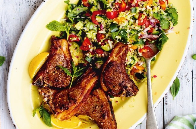 Tabbouleh with middle eastern lamb chops. (Photo: SUPPLIED)