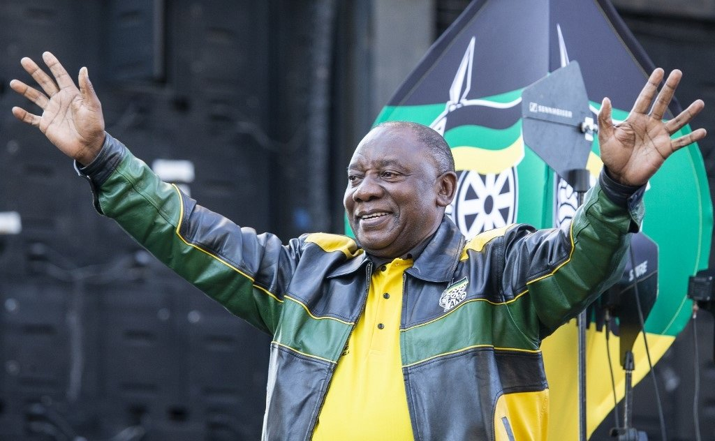 South Africa's president Cyril Ramaphosa faces a tricky time giving evidence about corruption. He wears two presidential hats: as head of the African National Congress, and the government. (Wikus de Wet, AFP)