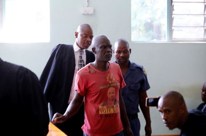 Lucas Pasha has appeared in court for allegedly murdering his and Sylvia Monyela's four children.