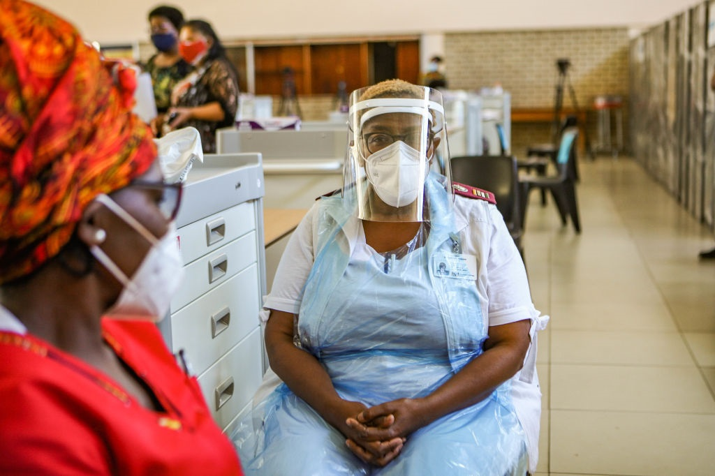 Hospital staff at Chris Hani Baragwanath Academic Hospital at the commencement of the vaccination programme. (Photo by Sharon Seretlo/Gallo Images via Getty Images)