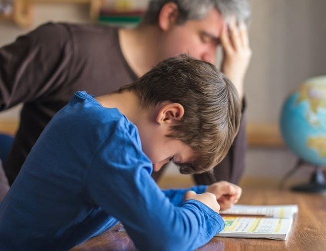 Father frustrated over son's school work