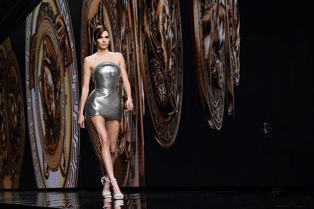 Kendall Jenner walks the runway during the Versace fashion show as part of Milan Fashion Week Fall/Winter 2020-2021 on February 21, 2020 in Milan, Italy. (Photo by Jacopo Raule/WireImage)