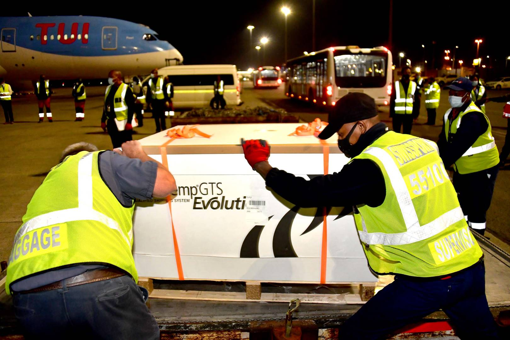 The new vaccines are offloaded at OR Tambo International Airport on February 16 2021. Picture: GCIS