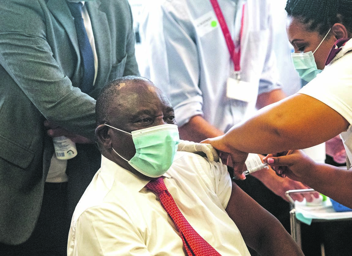 President Cyril Ramaphosa gets vaccinated at the launch of the Western Cape Covid-19 vaccination programme at Khayelitsha Distrcit Hospital.