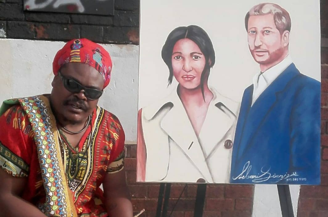 Lebani 'Rasta' Sirenje hopes to get the attention of the royal couple with this portrait (Photo: twitter.com/RastaArtist)