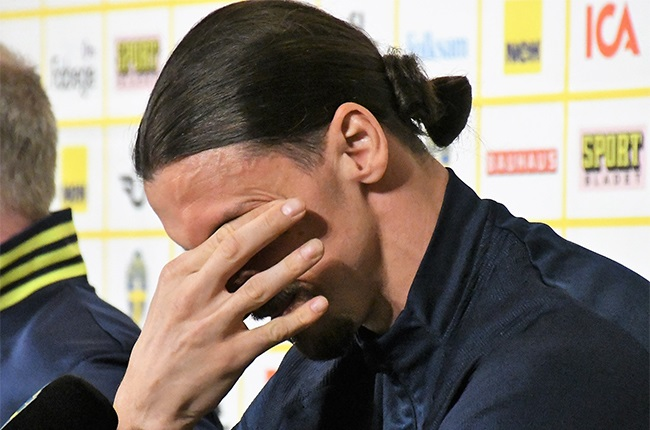 Zlatan Ibrahimovic of Sweden National Football Team cries as he holds a press conference.