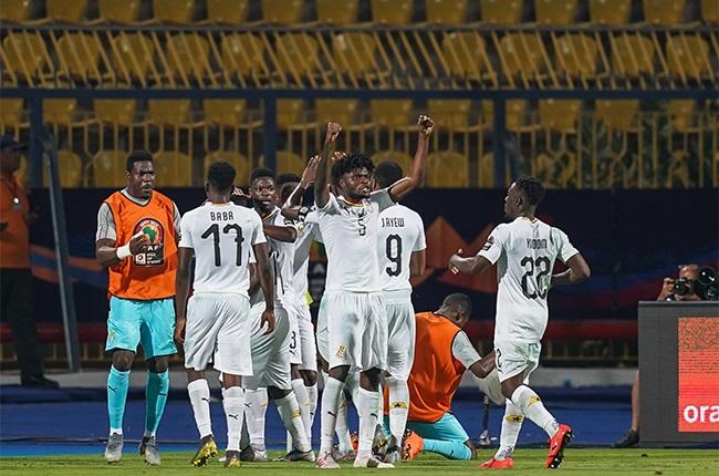 Nuhu Adams Kasim of Ghana  celebrating Ghanas goal