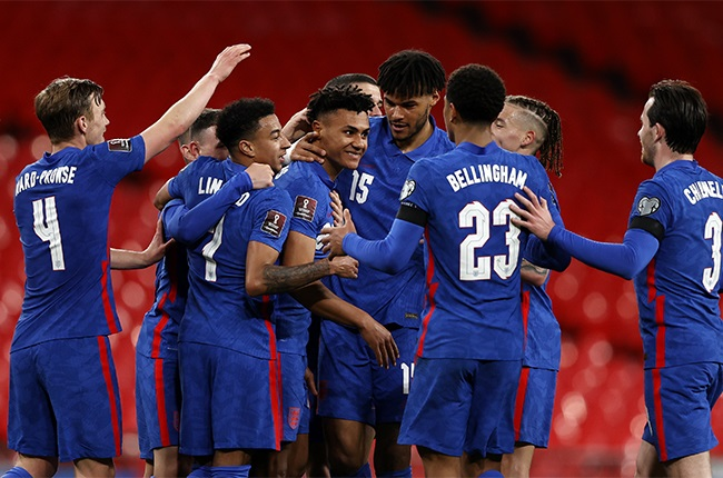 Englands Ollie Watkins (centre) celebrates scoring their sides fifth goal of the game. (Photo by Adrian Dennis/PA Images via Getty Images)