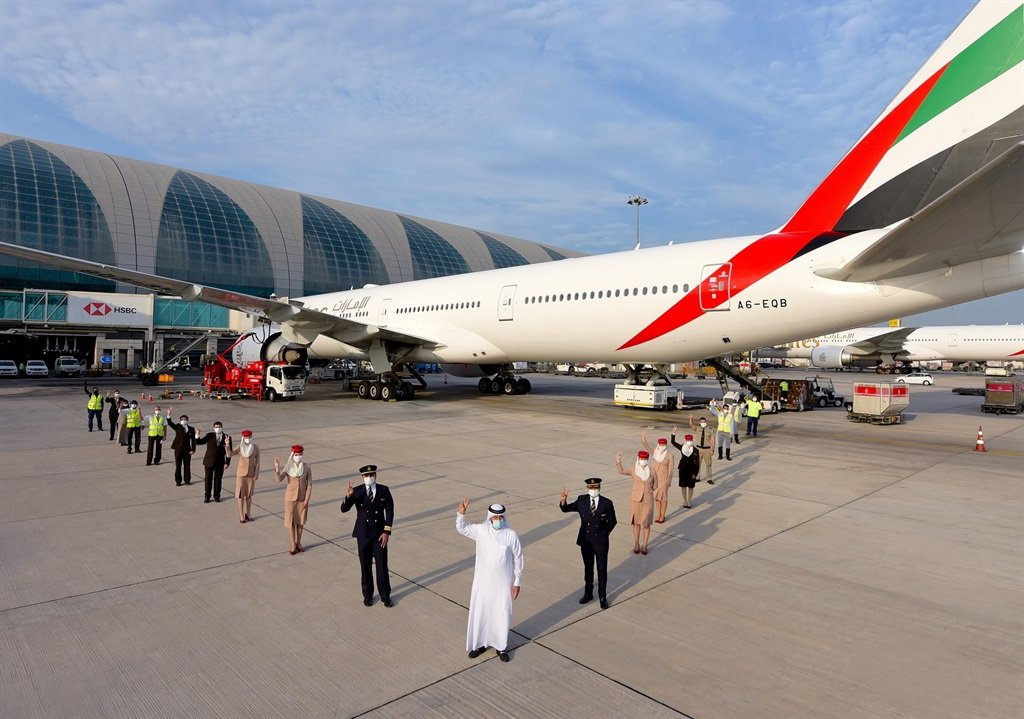 An Emirates flight departed from Dubai to LA on Monday with a fully vaccinated crew