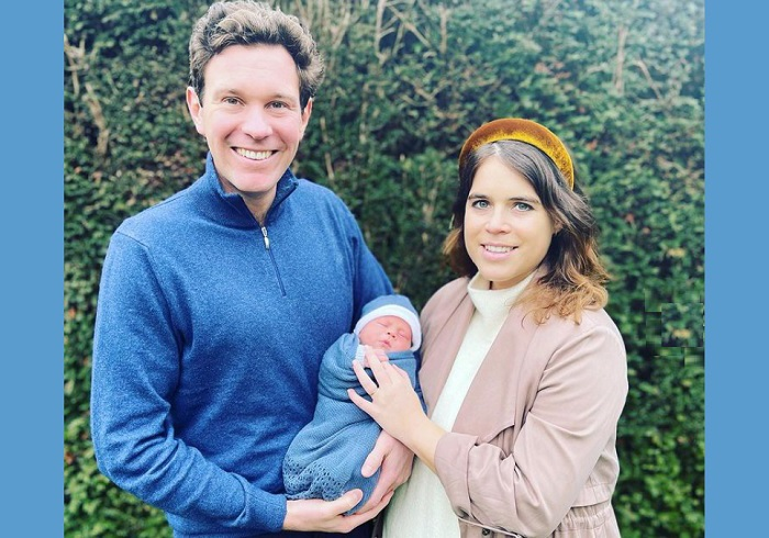 """""""We wanted to introduce you to August Philip Hawke Brooksbank"""".(Instagram/princesseugenie)"""