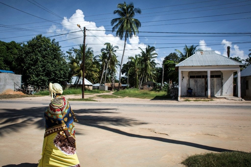 In this file photo taken on 16 February 2017, a Mozambican woman walks in Palma, a small, palm-fringed fishing town in Mozambique.