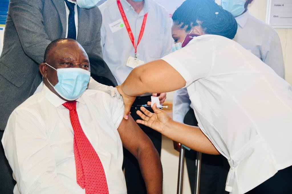 President Cyril Ramaphosa gets a Covid-19 vaccine jab at Khayelitsha District Hospital in Cape Town.