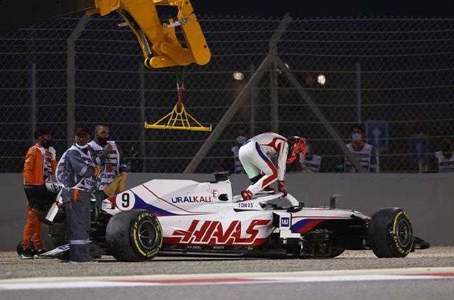 Nikita Mazepin after crashing out of the 2021 Bahrain Grand Prix