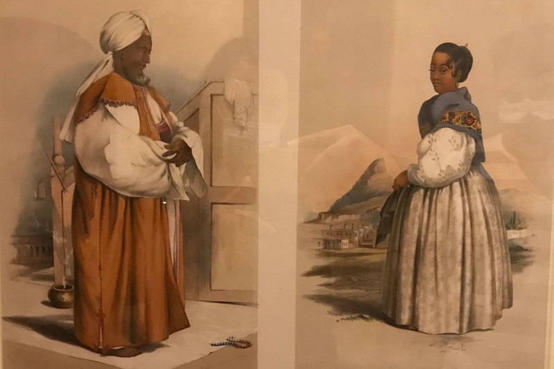 Former slave, imam, teacher and tailor Hadje Gasanodien, or Carel Pelgrim, and his wife, Nasea, painted by George French Angas, 1849 (Castle of Good Hope). Photo Halim Gençoglu.