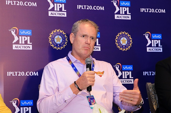 Sunrisers Hyderabad coach Tom Moody speak at a press conference for the Indian Premier League 2019 auction.