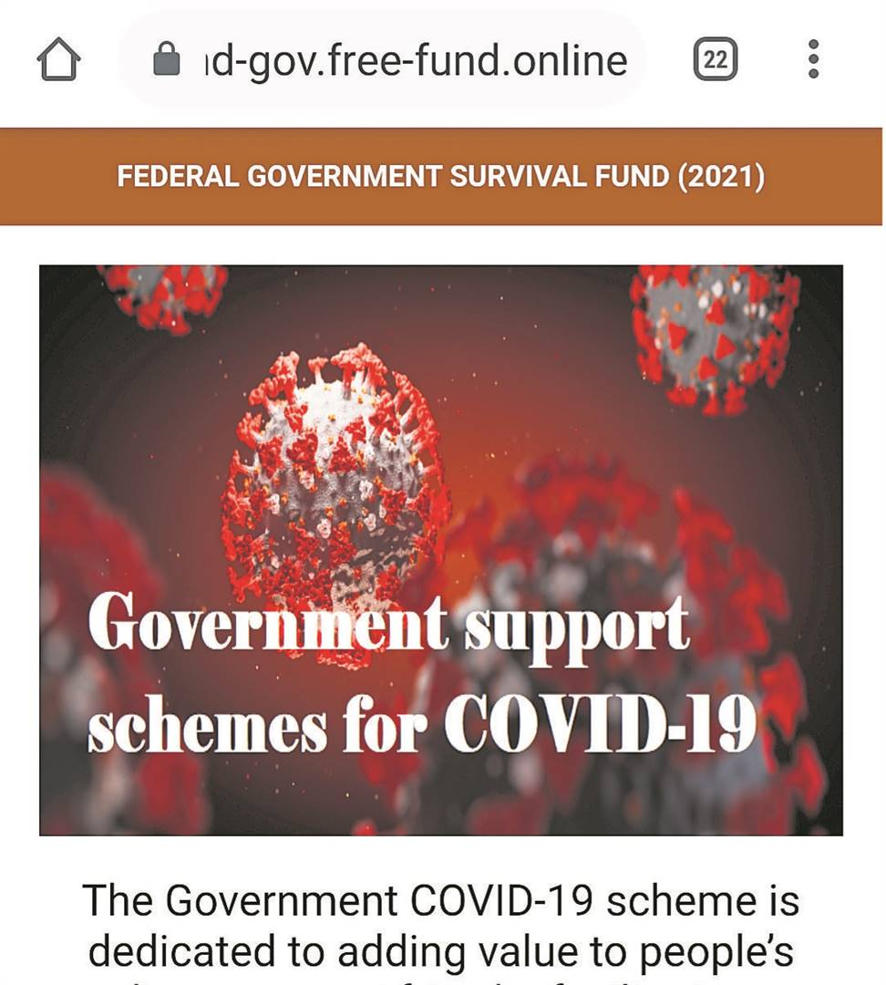 Scammers are spreading news of a fake Covid-grant on social media, linking to this website.