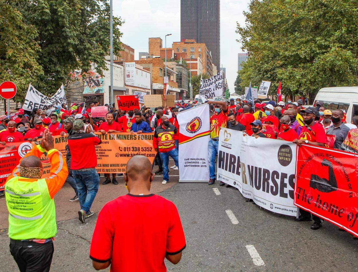 Members of the SA Federation of Trade Unions embark on nationwide protest action on February 24 in Johannesburg. The protest aimed to highlight growing poverty, unemployment and inequality in the country. Unions are threatening to shut down the public service if government doesn't come to the party with fair pay. Picture: Sharon Seretlo / Gallo Images