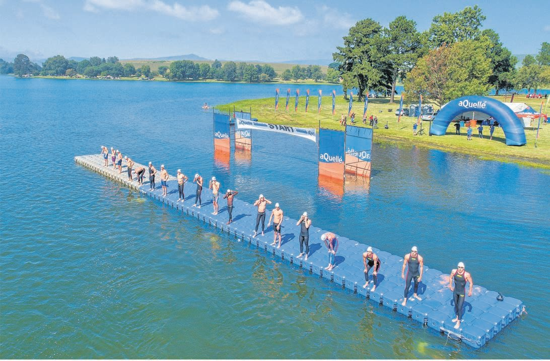 Swimmers at the start of the 2021 Midmar Mile yesterday maintaining social distance before their race.