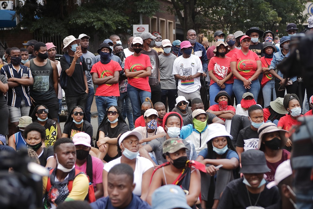 Students at Wits University protesting over registration related issues.