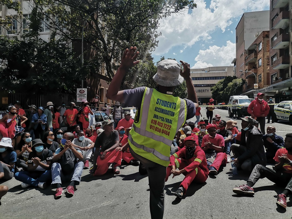 Students in Braamfontein gathered in the precinct to protest against financial exclusion at universities on 10 March 2021.