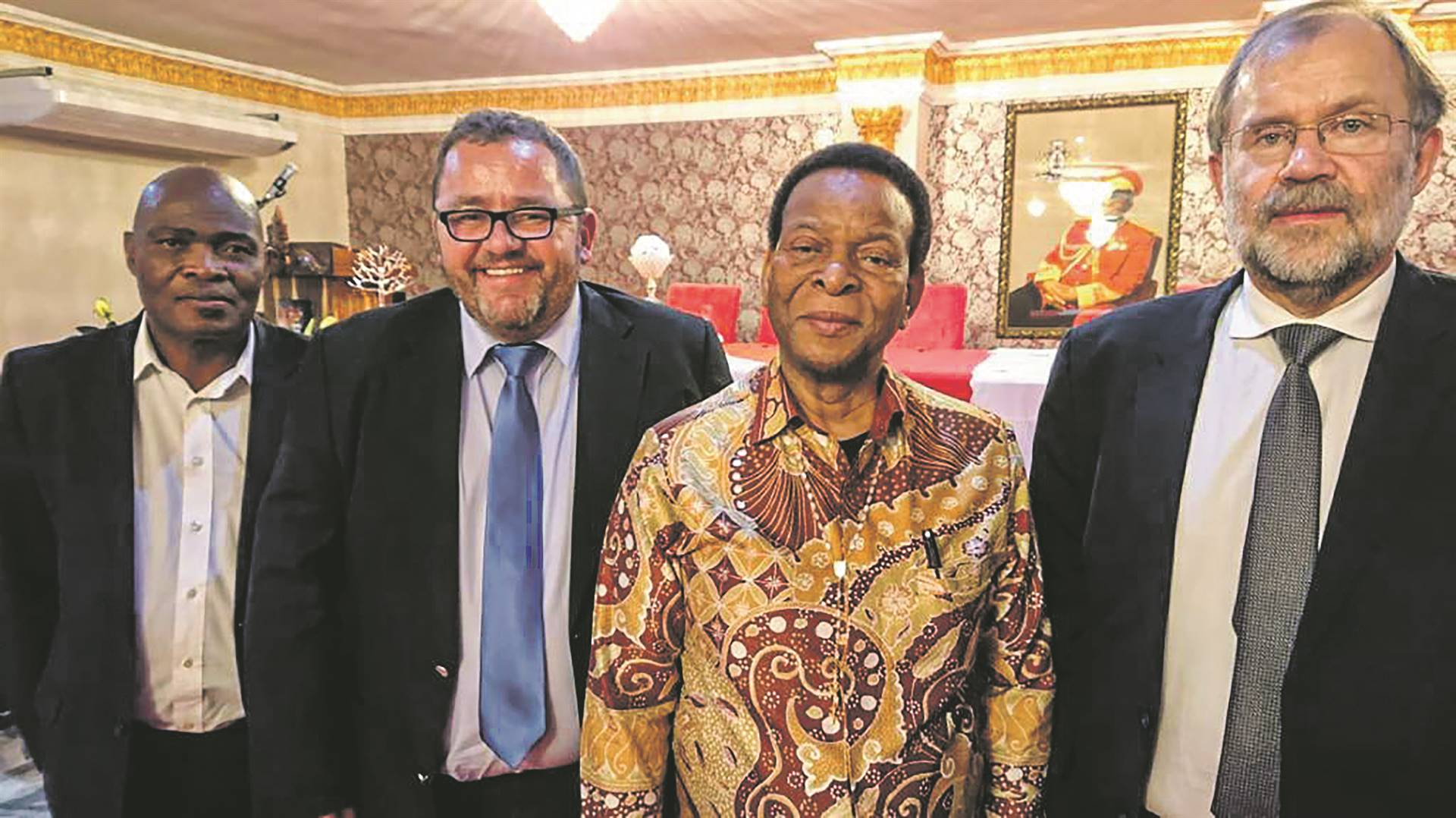 From left are Judge Jerome Ngwenya of the Ingonyama Trust, Kallie Kriel of AfriForum, King Goodwill Zwelithini and Flip Buys of Solidarity. Photo: Supplied