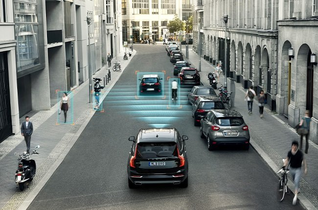 Cyclist Detection systems like those found in a Volvo warns the driver of an imminent collision and applies the brakes if further action is needed.