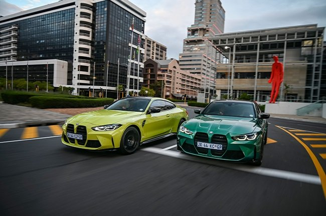 2021 BMW M3 (green) and M4 - both in Competition trim