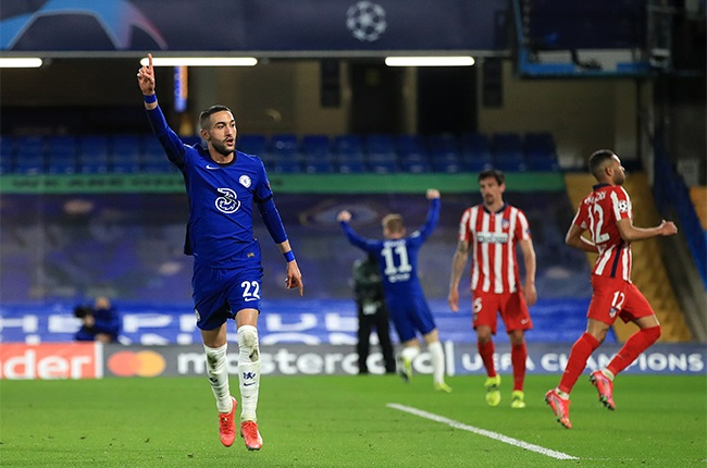 Chelseas Hakim Ziyech celebrates scoring.
