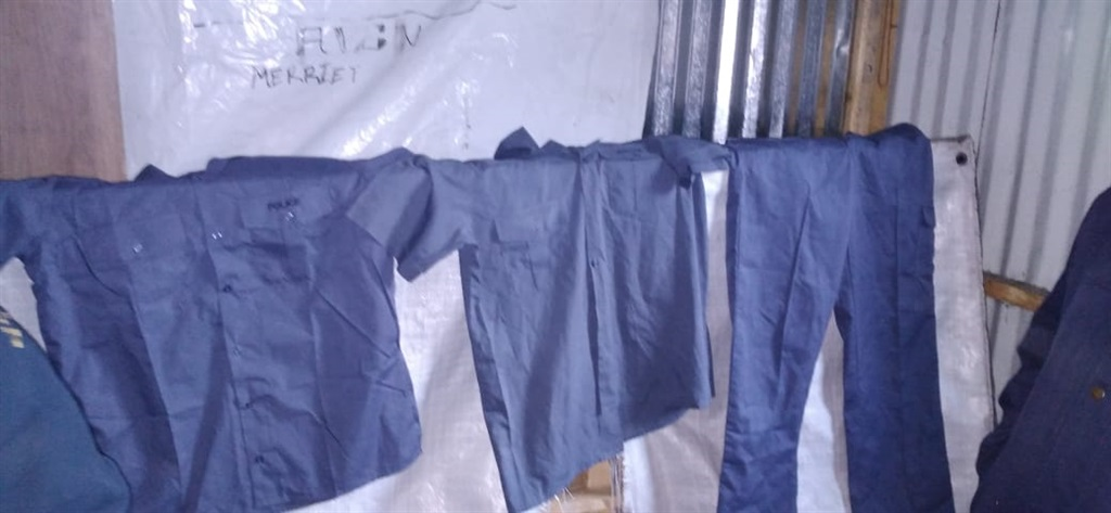 The suspected stolen police clothing seized during
