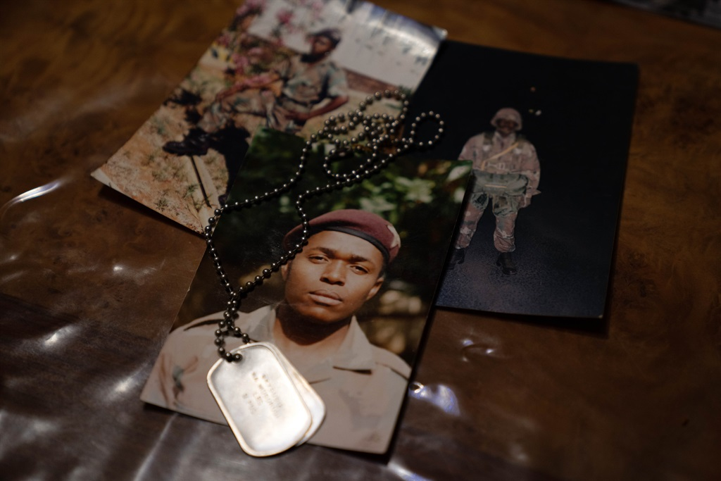 The dog tags of Corporal Ntebaleng Andrew Mogorosi. (Picture: James Oatway)